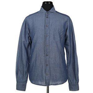 Eton Slim Fit Linen Cotton Blend Dress Shirt 16/41